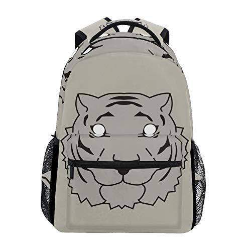 Mochila con Estilo Vector Tiger Head Mochila- Bolsas Ligeras de Viaje para la Escuela universitaria 16 X 11.5 X 8 Pulgadas
