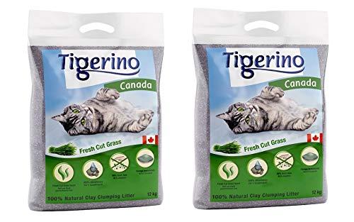Tigerino Doppelpack Canada Katzenstreu, Fresh Cut Grass 2x12kg