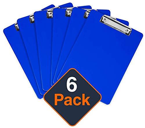 Kunststoff-Klemmbrett mit Metallclip | Plastik-Clipboard-Set nach Blau | Stabile Schreibunterlage mit Metallclip für 100 Blatt Papier | Transparente Acryl-Klemmbrettmappe | 6 Stück