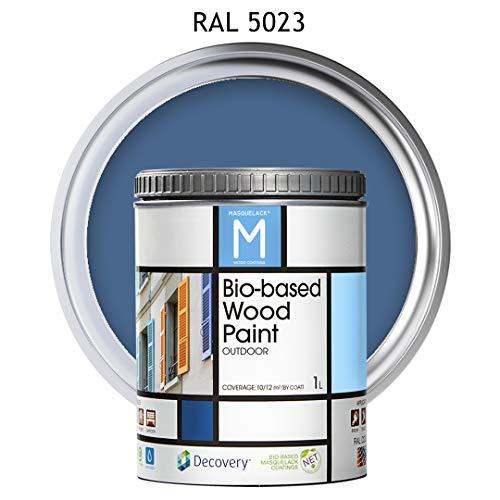 Holz-Farbe | Bio-based Wood Paint RAL 5023 | 1 L | Für alle Arten von Holz | Holz im Außenbereich Farbe mit halb fertig aussehen warm und seidenmatt | Farbe blau
