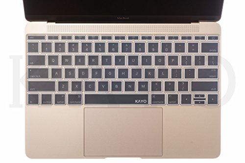 KAYO ESSENTIALS - Protector de teclado para MacBook de 12 pulgadas con pantalla Retina A1534, color blanco transparente