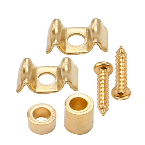 Musiclily Guitar Flat Wavy Strat String Guides Tree Retainer for Fender American Vintage Stratocaster Parts, Gold (Pack of 4)