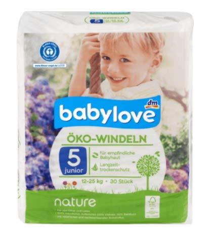 babylove Öko-Windeln nature Größe 5, Junior, 12-25 kg, 30 Stück