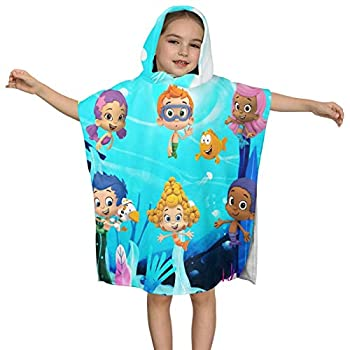 GIPHOJO Kids Bath and Beach Towels Girls Boys Bathrobe Unisex Children Beach Superfine Fiber Hooded Towel Wrap Washcloth Pool Cover Up Bubble and Guppies - Ultra Soft Super Absorbent Gifts