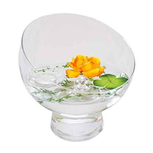 Glaskönig Runde Glas-Schale Nantes Höhe 19cm ø 19cm | Abgeschrägte Dekoschale mit Dekorations Set Rose gelb-orange | Dekoglas als Geschenkset Dekoration inklusive Deko Komponenten |Deko-Wohnzimmer