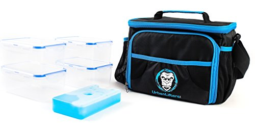 Urban Lifters Meal Prep Bag. Lightweight Bag complete with 4 containers + ice pack. Ideal for Meal Management. Insulated food storage, ergonomic shoulder strap. For Athletes on the go.