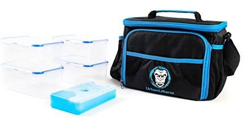 Meal Prep Bag/Tasche zur Vorbereitung von Mahlzeiten, von Urban Lifters,leichte Tasche aus hoher Qualität mit 4 Behältern und einem Kühlakku,ideal für das Management von Mahlzeiten