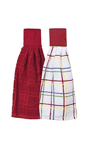 Ritz Kitchen Wears 100% Cotton Checked & Solid Hanging Tie Towels, 2 Pack, Paprika Red, 2 Piece