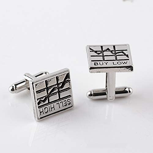 SuoSuo LZWJD Statement Stock Market Cuff Links Sell high Stock Charts Buy Low Cufflinks French Shirt accessoires Cuff Button Basic cuflinks