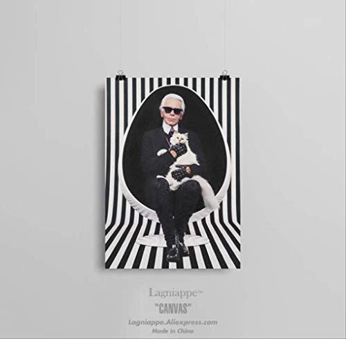 Karl Lagerfeld Rip Portrait Mode Schwarz Weiß Home Wohnzimmer Schlafzimmer Dekor Druckplakat Bild Malerei Wandkunst Leinwand 40X50 cm Kein Rahmen