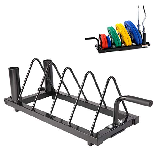Horizontal Olympic Barbell Rack, Steel Barbell Storage Rack with Handles and Transport Wheels
