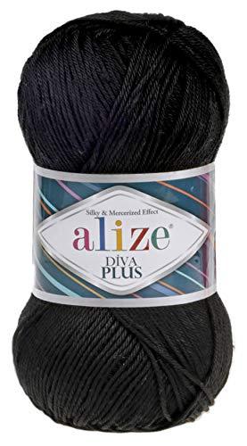 Alize Diva Plus 100% Microfiber Acrylic Silk and Mercerized Effect 3 DK & Light Worsted Yarn 1 Ball Skein 100gr 240 yds Color (60-Black)