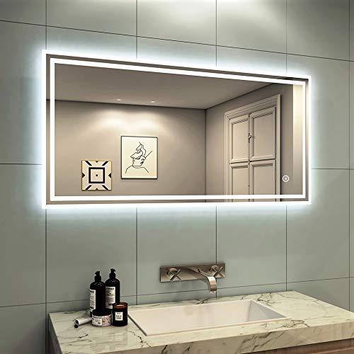 Meykoers Wandspiegel Badezimmerspiegel LED Beleuchtung Badspiegel 100x60cm mit Touch-Schalter Lichtspiegel Kaltweiß 6400K