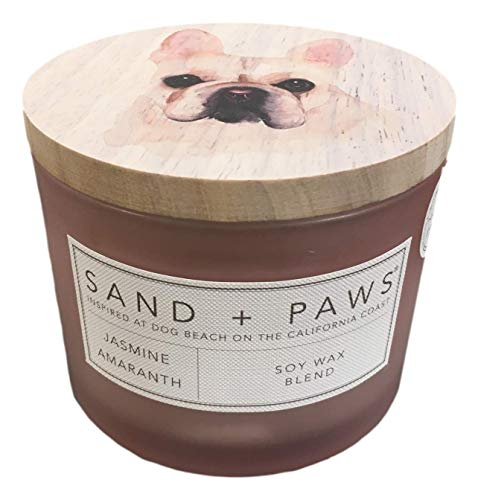 Sand + Paws Jasmine Amaranth Scented Candle, Neutralizes Pet Odors, 2 Wick, 12 Oz