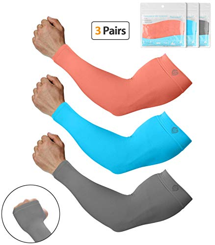 SHINYMOD Arm Sleeves Arm Pads for Men Women, Sun Protection Arm Support Tattoo Covers Sports Compression Sleeves for Golfing,Running,Cycling,Working Out