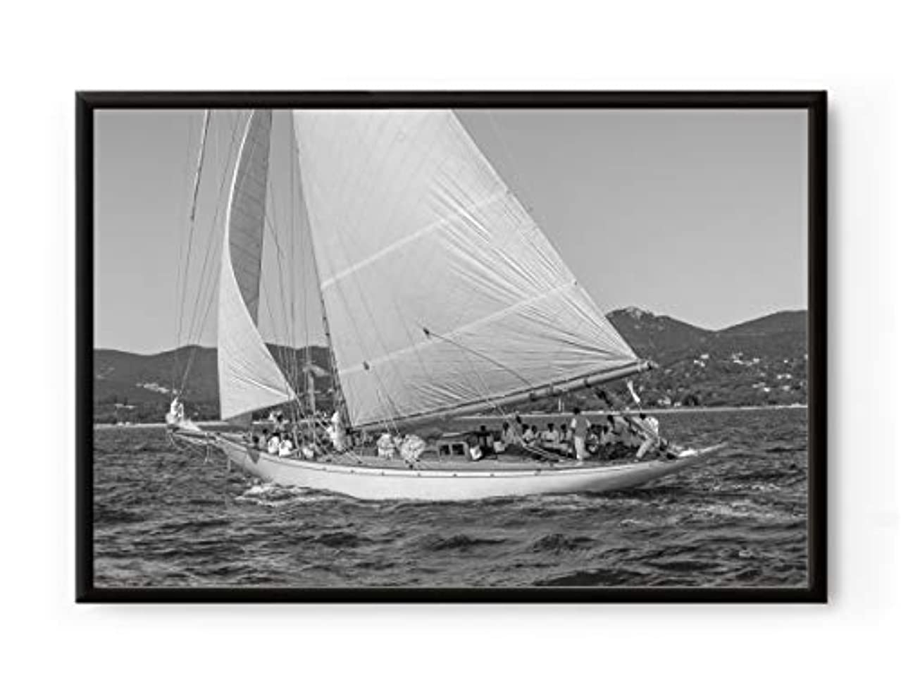 Solid Oak Sailing Boat, Natural Frame, with Mount, Multicolored, 20x30