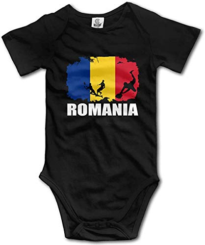 WlQshop Unisex-Baby Kurzarm Body, Romania Flag Football Rugby Creeper Jumpsuits Short Sleeve Baby Girls Bodysuit