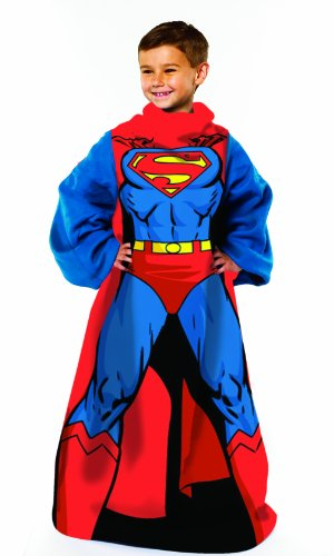 Warner Brothers DC comics Superman, Being Superman Youth Comfy Throw Blanket with Sleeves, 48' x 48'