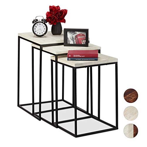 Relaxdays Satztisch 3er Set, quadratische Beistelltische, Mangoholz & Metall, Industrial Design, Couch, 3 Größen, weiß