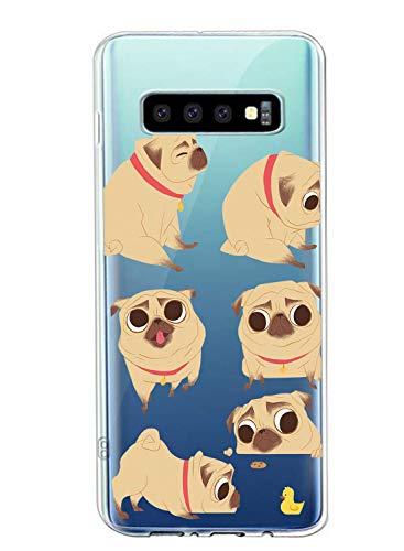 Oihxse Transparent Coque pour Samsung Galaxy S10 5G Etui en Silicone Souple Gel TPU Protecteur Bumper Hybrid [Ultra Mince] [Antichoc] [Anti-Scratch] Chien Motif Design Housse (A1)