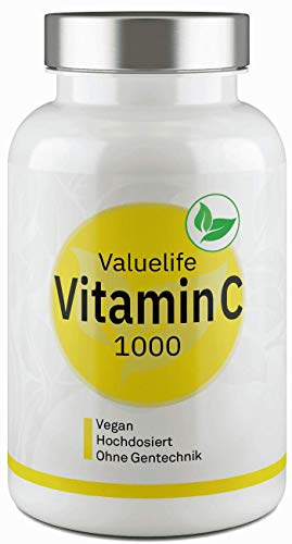Vitamin C Tabletten 1000 mg vegan & hochdosiert - 6 Monate Vitaminversorgung - Premiumproduktion in Deutschland - Pro Immunsystem und Kollagenbildung - 180 vegane Tabletten von Valuelife