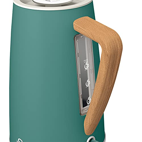 Swan Nordic Jug Kettle, 1.7 Litre, Pine Green, Rapid Boil, Wood Effect Handle, Scandi Design, Soft Touch Housing and Matte Finish, 3kw, SK14610GREN