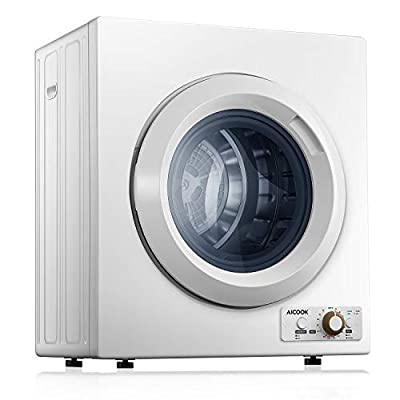 AICOOK Clothes Dryer 2.65 Cu.Ft Portable Dryer with Sensor System, 9 lbs Compact Laundry Dryer for Apartments, Stainless Steel Tub and 4 Automatic Drying Mode, 1400W, 110V & 120V