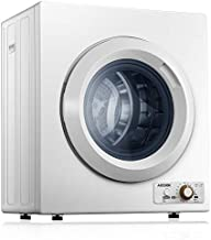 AICOOK Compact Laundry Dryer, 1400W Electric Portable Clothes Dryer with Stainless Steel Tub, Control Panel Downside Easy Control for 4 Automatic Drying Mode, White