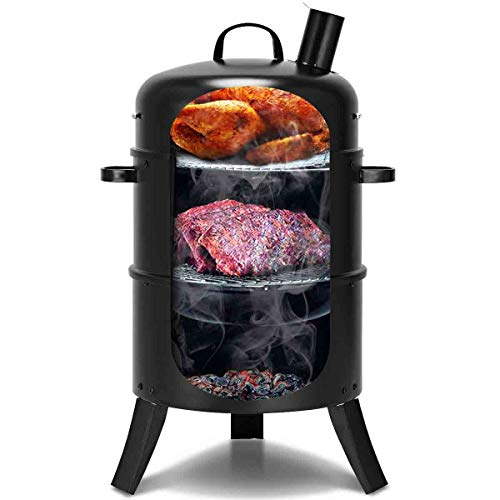 Happygrill Charcoal Grill with Thermometer Outdoor Multi-Layer Charcoal Smoker Heavy Duty Round BBQ Grill