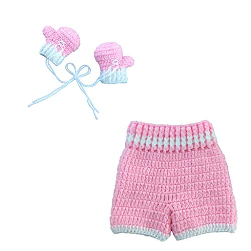 Yudanny fotografía de bebé recién nacido accesorios de fotografía trajes pantalones de punto de ganchillo + guantes de boxeo traje de regalo de baby shower (rosa)