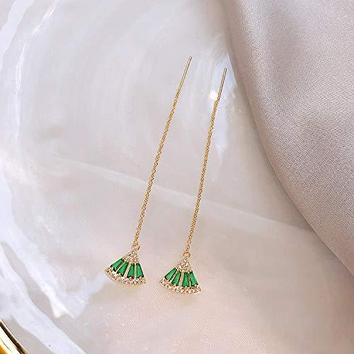 Barokke stijl smaragd kristal waaiervormige oorbellen vrouwelijke temperament micro-set flash diamanten halsketting sleutelbeen ketting