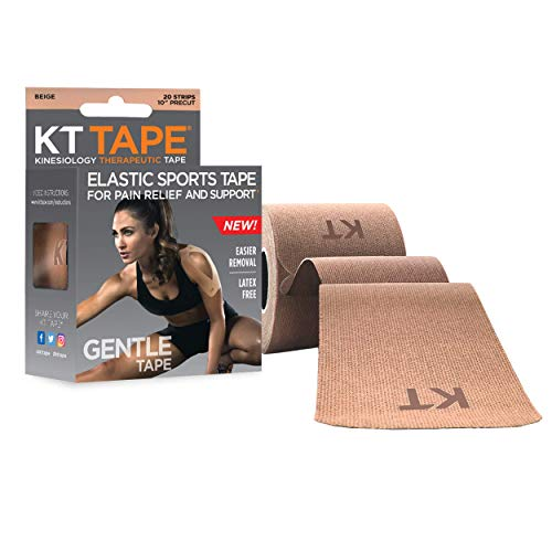 KT Tape Kinesiology Therapeutic Sports Tape Gentle Adhesive for Sensitive Skin 20 Precut 10 inch Strips Beige