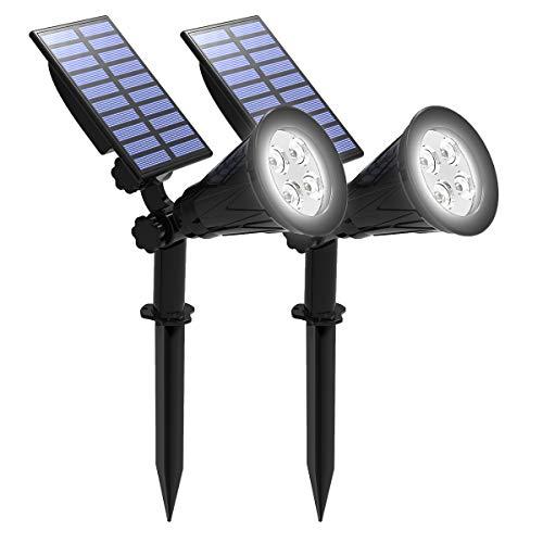 Luci solari, T-SUNRISE Spotlight per esterni a LED, IP65 Impermeabile Luce notturna per la sicurezza per passerelle, Albero, Patio, Cortile, Giardino, Strada privata (2Pack White)