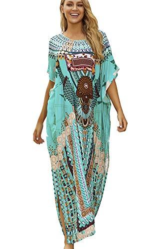 L-Peach Femme Kaftan Longue Robe de Plage Tunique Sarong Paréo pour Maillot de Bain Cover ups, B-multicolore, Taille unique