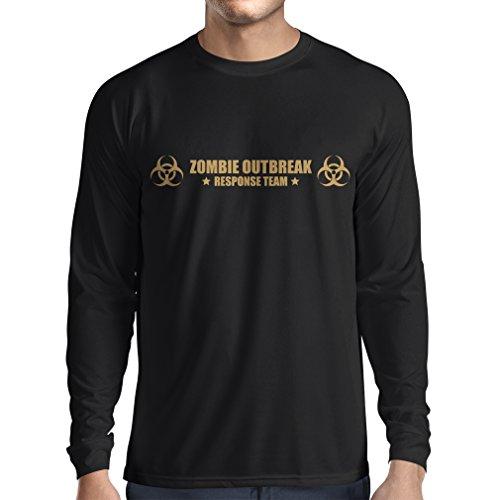 N4519L T-Shirt mit Langen Ärmeln Zombie Outbreak Response Team (Small Schwarz Gold)