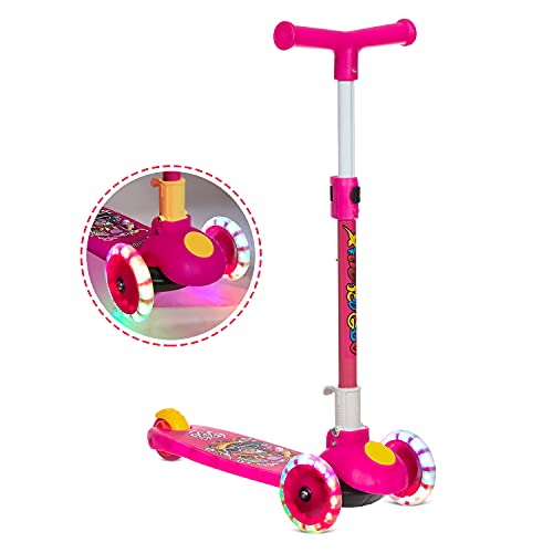 NHR Smart Kick Scooter, 3 Adjustable Height, Foldable,Front Wheel Light & PVC Wheels for Kids (3 to 8 Years ,Pink)