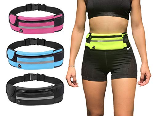 Riñonera Deportiva Hombre Cinturón Running Mujer Impermeable Unisex Tiras Reflectantes y Correa Ajustable Vale para iPhone 12/12Pro/12ProMax/XR/XS/X/8 Samsung S20/10/S9/S8