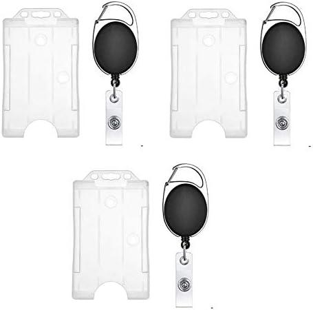 FEDUS I.D. Card Retractable Holder Badge Yo Yo Clip + Card Holder Pack 3,Black