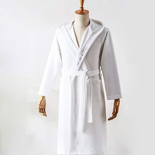 Yuyaxpb Luxe badjas met capuchon van katoen voor dames en heren, met twee zakken, dames meisjes jongeren eenvoudig en natuurlijk, elegant, perfect cadeau
