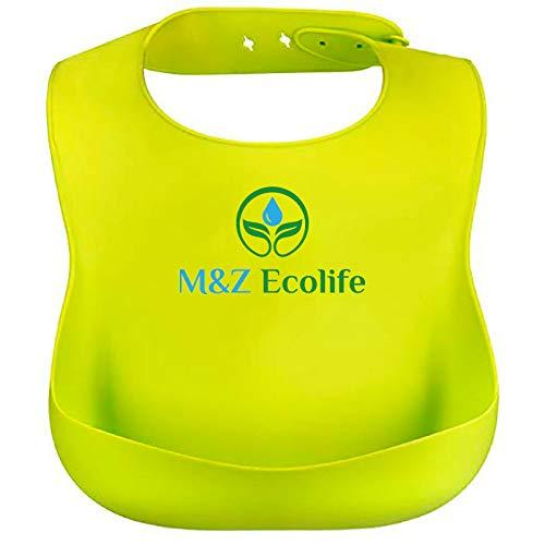 M&Z Ecolife Bavaglini in Silicone ecologico Impermeabili di Alta qualità per Neonato e neonata Leggeri Morbidi Regolabili e Facili da Pulire Set Verde e Blu