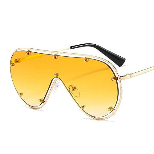 chuanglanja Gafas De Sol Juveniles Gafas De Sol Ovaladas De Gran Tamaño Para Mujer Gafas De Sol Con Remache De Marco Grande y Espejo Vintage Gafas De Conducción UV400-Color-V