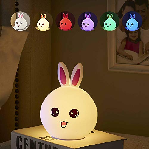 Night Light Gifts for Kids Baby - LED Bunny Nursery Bedside Lamp Tap Control Multicolor Silicon Lantern Portable Light for Infant Toddler Children Boys Girls Room Bedroom Camping Tent