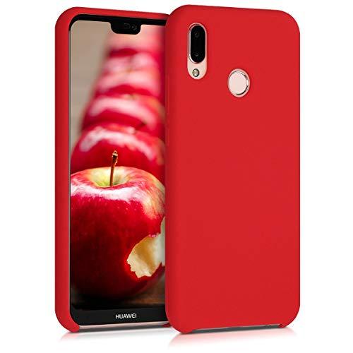 kwmobile Coque Compatible avec Huawei P20 Lite - Housse de téléphone Protection Souple en TPU Silicone - Rouge Mat