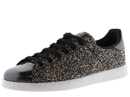 victoria 112558-WOMEN Sneaker Tennis Glitter Flatform Donna Antracita 38