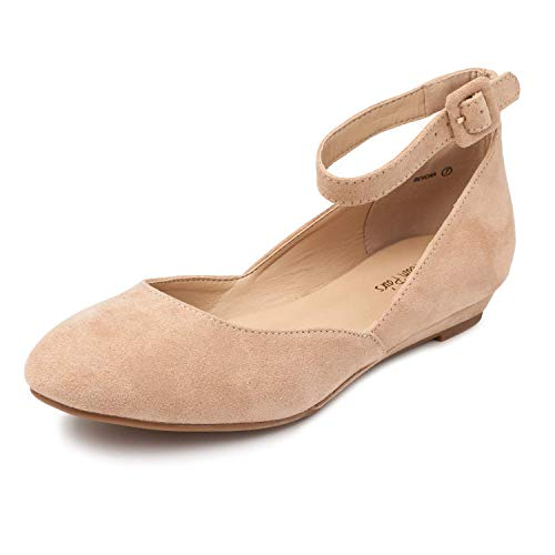 DREAM PAIRS Women's Revona Nude Suede Low Wedge Ankle Strap Flats Shoes - 7.5 B(M) US