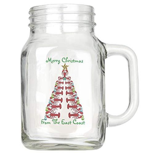 Tarro Mason con asas, Merry Christmas from East Coast langosta, taza a la moda, vasos de cristal reutilizable para aniversario de casa, 473 ml
