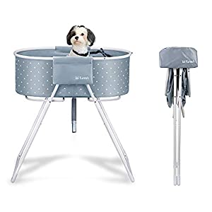 Furesh Elevated Folding Dog Bath Tub and Wash Station for Bathing, Shower, and Grooming, Foldable and Portable, Indoor and Outdoor, Perfect for Small and Medium Size Dogs, Cats and Other Pet (Gray)