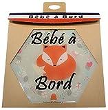 bébé à bord Made in France - autocollant/stickers/Adhésif pour voiture - imprimés bébé renard - Résine naturelle - garantie 10 ans - livraison 72H