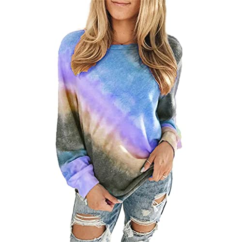 Mayntop Womens Tops for Fall Tie-dye Ombre Gradient Plus Size Long Sleeve O-Neck Loose Tee Shirt Blouse(B Blue,XL(14))