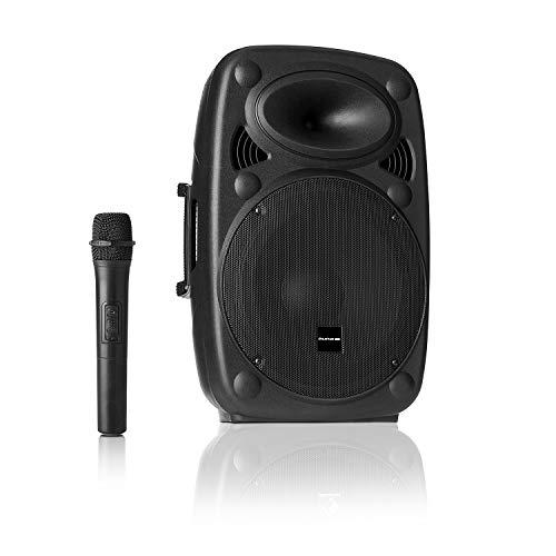 "auna Streetstar - Equipo PA portátil, Altavoz DJ, Bluetooth, Puerto USB, SD, MP3, AUX, Batería 3 Ah, Pantalla LED, Micrófono UHF, Mando a Distancia, Subwoofer 10"" (25,5 cm), Potencia 400 W, Negro"